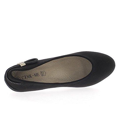Escarpins noirs grande taille talon de 6cm look daim