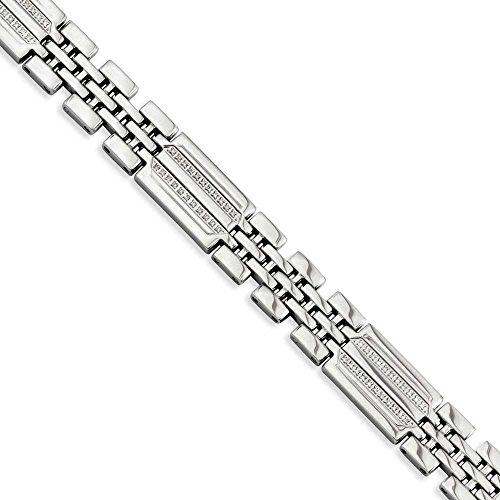 En acier inoxydable poli avec diamants bruts Fancy-Bracelet Femme-23cm