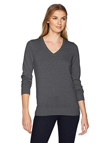Amazon Essentials Women's Lightweight V-Neck Sweater, Charcoal Heather, X-Large