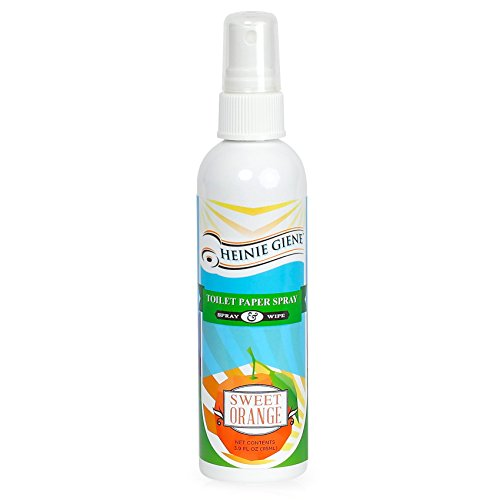 Heinie Giene Toilet Paper Spray Sweet Orange (3.9 Fl Oz Bottle) Flushable Wipe Alternative