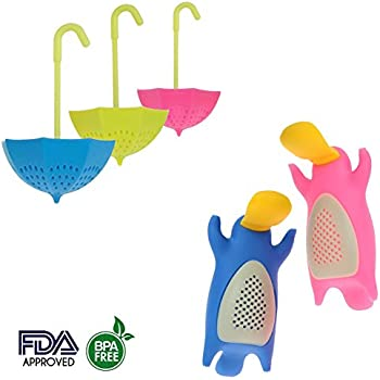 5 pcs Colorful Umbrella and Platypus Silicone Tea Infuser Strainer Steeper Diffusers Set Accessories for Loose Leaf Herbal Tea - Great Gift for Tea Lovers