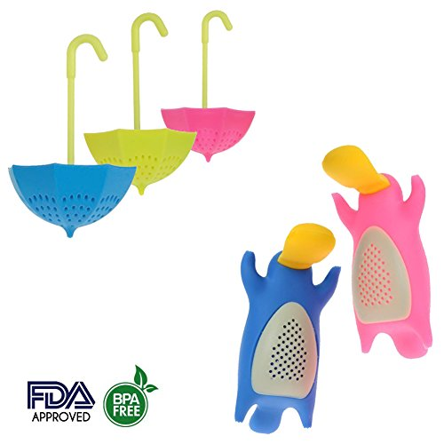 5 pcs Colorful Umbrella and Platypus Silicone Tea Infuser Strainer Steeper Diffusers Set Accessories for Loose Leaf Herbal Tea - Great Gift for Tea - Shape Right For Face My Glasses