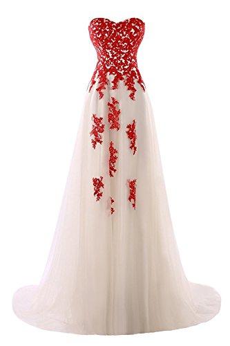 Damen Ballkleid Schatz Lang Hochzeitskleid mit Applikationen Tüll Abendkleider Rot Partykleid Elegant Beyonddress U6TdcSwaTq