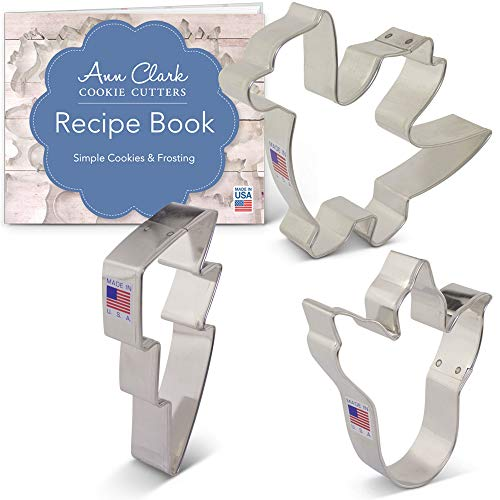Dragon Cookie Cutter Set with Recipe Booklet - 3 piece - Dragon, Dinosaur Foot and Flame - Ann Clark - USA Made Steel