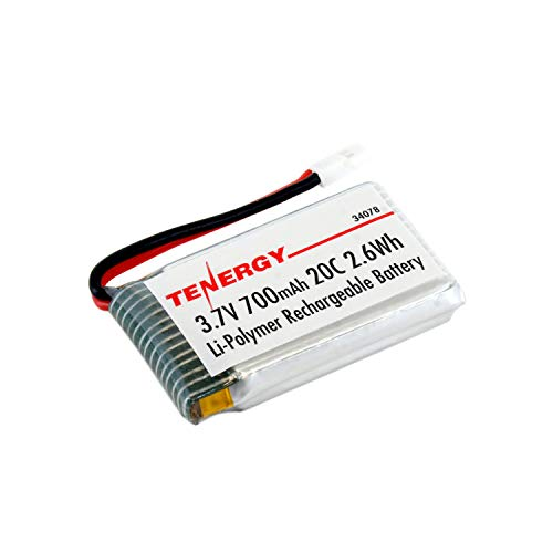(Tenergy 3.7V 700mAh LiPo Battery Pack, 20C High Discharge Rate Rechargeable RC Drone Battery for Syma X5, X5C, X5SC, X5SW & Cheerson CX-30W RC Quadcopter Drone, 1-Pack)