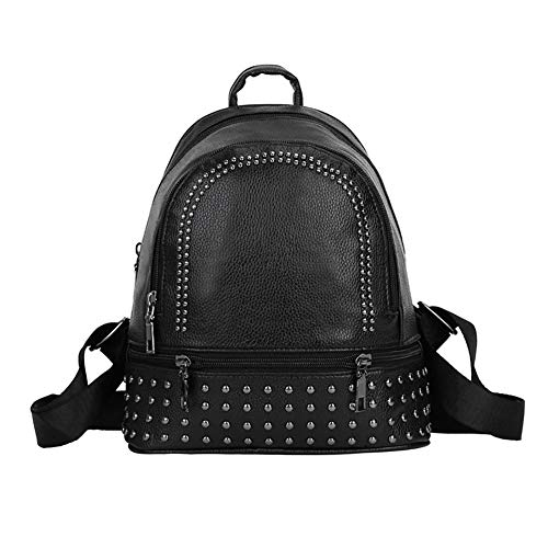 in pelle da donna Borsa Black a Zipper Daypack tracolla W0qYSIaS6
