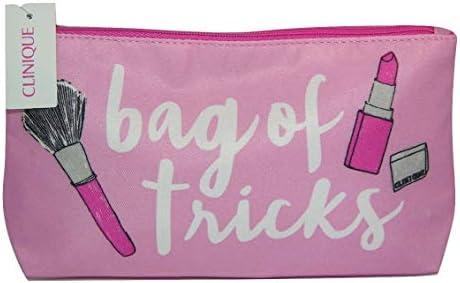 Clinique - Bolsa de maquillaje pequeña rosa y blanca con diseño de trucos, 2 unidades: Amazon.es: Belleza