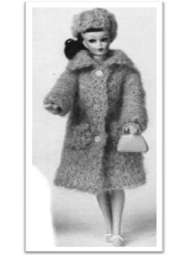 #1715 BARBIE MOHAIR COAT AND HAT VINTAGE KNITTING PATTERN ()