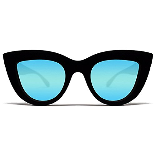 Quay Kitti Sunglasses Cat Eye Plastic Frame Irridescent Lense (Black w/ Blue Mirror, - Sunglasses Kitti