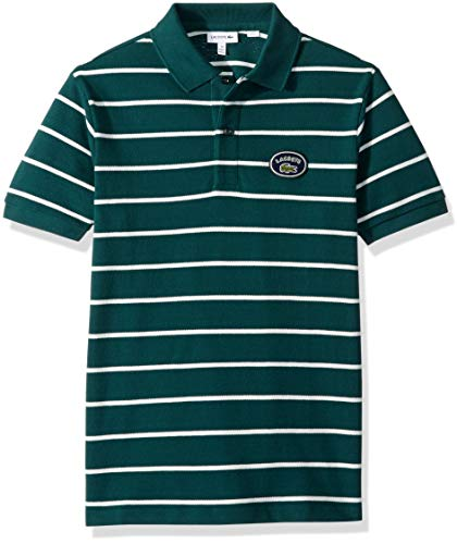 Lacoste Big Boy Short Sleeve Striped Heritage Badge Pique Polo, ACONIT/Flour, 12