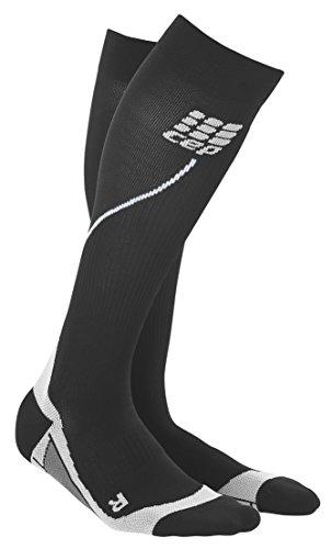 CEP Women's Progressive+ Compression Run Socks 2.0, Size 3 (Calf 12.5-15-Inch), Black/Grey