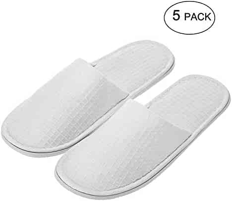 1033d6953 echoapple Waffle Closed Toe White Slippers-Two Size Fit Most Men and Women  for Spa