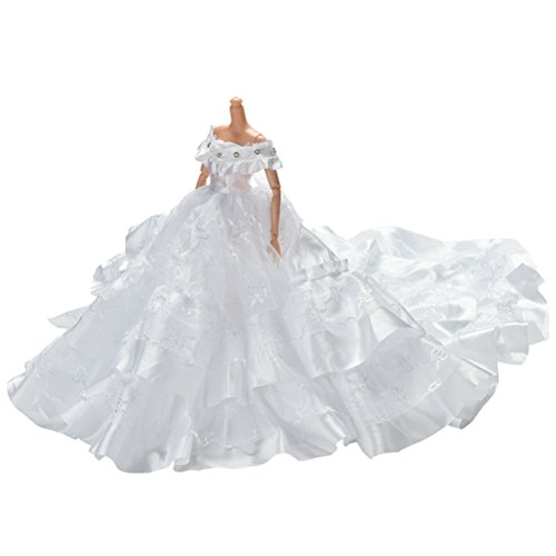 1 Pcs white Dress Rapunzel Party Dress Costume Wedding Gown Dress For Dolls (Cinderella Wedding Dress Costume)