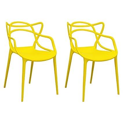 Amazon.com: Ergo Furnishings Mid Century Molded Plastic Curve Dining Chair  (Set Of 2), Yellow: Kitchen U0026 Dining