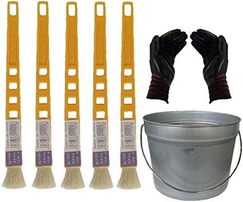 ペール缶付き黄柄エナメルハケS 5本(作業手袋付き)通常便