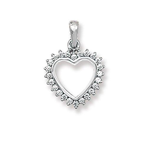 Or blanc 9ct Oxyde de Zirconium de cœur Pendentif sur un collier de Belcher