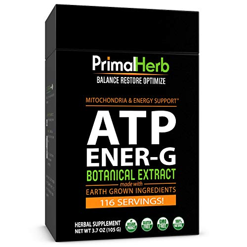 ATP, Mitochondria Energy Boost | Cistanche, Cordyceps, Siberian Eleuthero, Green Tea Extract | by Primal Herb | Includes Bamboo Spoon - 116 Servings!