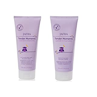 Jafra Tender Moments Hair & Body Wash & Baby Massage Cream 2 Piece Set (Lavender & Chamomile Scent)
