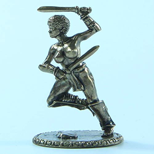 CTOC Female Gladiator with Two Swords Bronze Statuette Fantasy Miniature 40 mm Collection Figurine Metal Toy Soldier pit14 ()