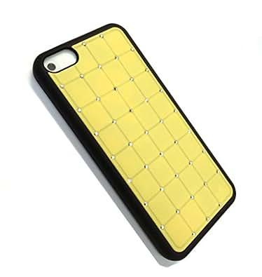 Alta 5c LUJO Valor Iphone CRYSTAL Cruz diamante amarillo Caso duro de la cubierta de Bling con Marco Negro para APPLE Iphone 5C