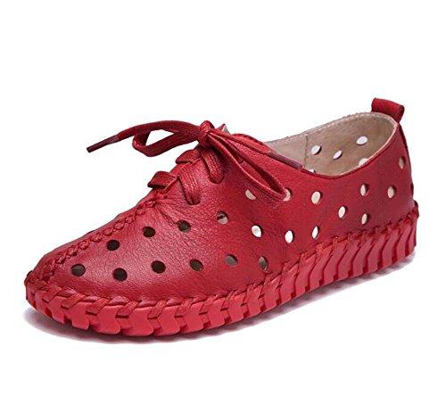 embarazadas de estilo Zapatos Primavera verano femeninas Sandalias Zapatos ocasionales de cuero Agujas huecas y mujer planos Rojo Mujeres Nuevo Zapatos qC7wd7
