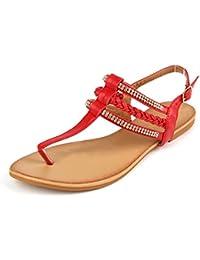 66b04b17098f Women s Strappy Rhinestones Thong Buckle Strap Gladiator Flat Sandals (10  B(M) US