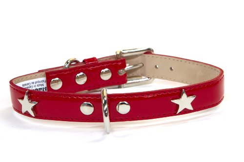 Bluemax Italian Synthetic Patent Dog Collar with Star Stud, 3/4-Inch by 12-Inch, Red (Star Italian)