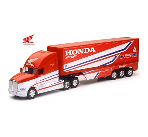 (NEW 1:32 NEWRAY TRUCK & TRAILER COLLECTION - Red Kenworth Trailer - Team Honda HRC Diecast Model By NEW RAY)