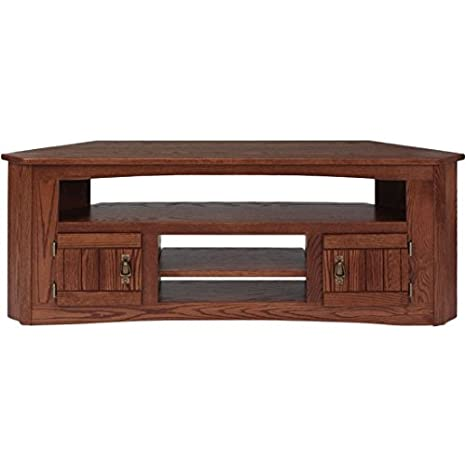 Amazon Com Solid Oak Mission Style Corner Tv Stand 999 Kitchen