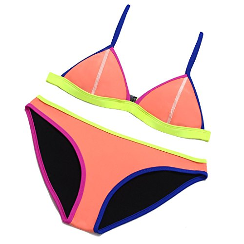 Ritz-bale Women's Triangle cup Bikini Set(Watermelon red,XL)