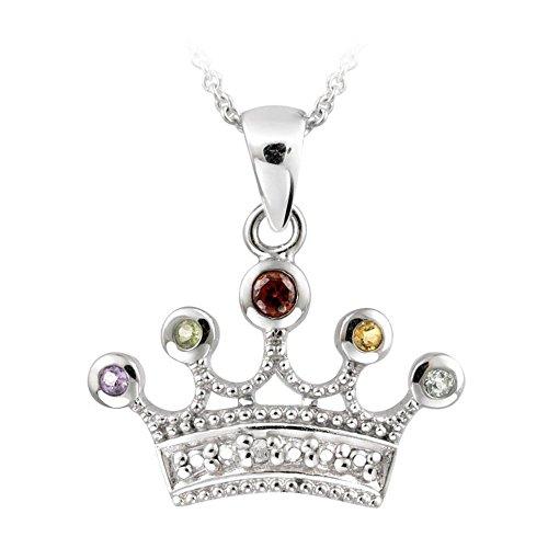 Glitzs Jewels Sterling Silver Multi Gemstone & Simulated Diamond Accent Crown Necklace, 18'' ()