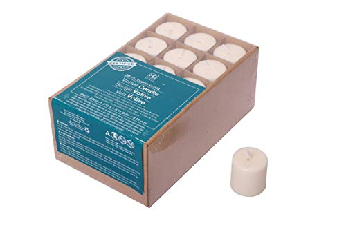 Hosley Set of 30 Ivory Unscented Votive Candles. Up to 10 Hour Burn. Bulk Buy. Wax Blend. Ideal for Wedding, Birthday, Spa, Aromatherapy, Party, Everyday Use. ()