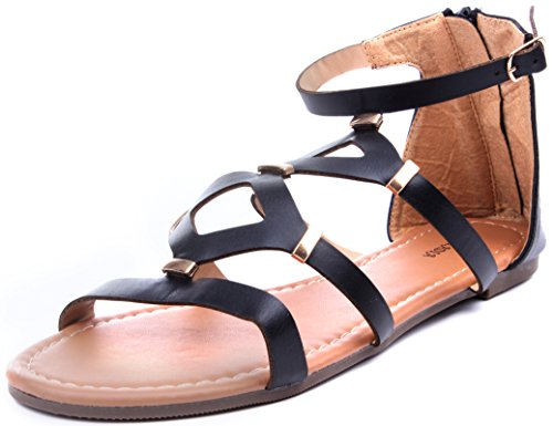 Enimay Women's Gladiator Sandals Slingback Girl's Shoes Leather Straps Zipper Black Bar 7