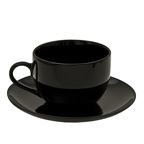 10 Strawberry Street BCP00096 Coupe Cup/Saucer, Set of 6, Black