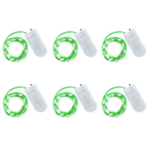 6 Pcs Fairy String Lights, Waterproof Battery Operated 20 Leds Firefly Lights Starry String Lights for Wedding Halloween Thanksgiving Christmas Home Party Decoration and Crafting (Green Halloween String Lights)