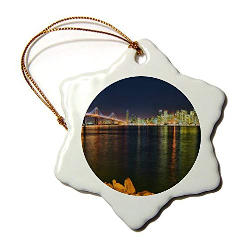 (VinMea Evening Lights Night Twilight Sky Bridge Water Summer Decorations Personalized Snowflake Ornament Porcelain Ornament 3 Inches)