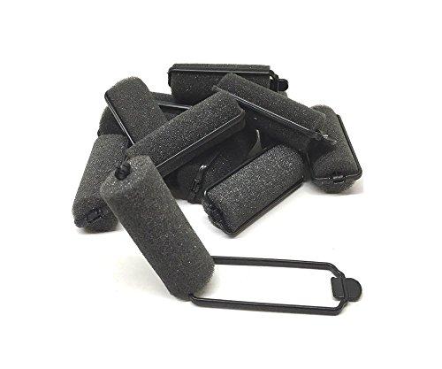 12 Piece Black Foam Sponge Hair Rollers Small Size