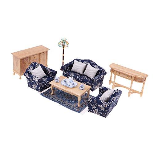 Perfk おもちゃ リビングルーム装飾 ソファ エンドテーブル キャビネット模型 1/12ドールハウス ミニチュア家具 飾り