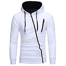 acelyn Mens Casual Zip Hoodies Long Sleeve Tops Cardigan Fleece Hooded Sweatshirt M-3XL