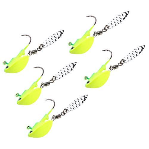(DYNWAVE 5pcs Shad Jigs Head Baits Underspin Swimbait Hooks with Spoon - Green 10g )
