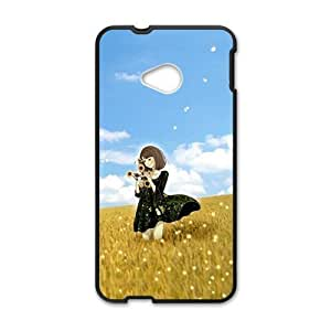 Wlid dandelion field and cute lovely girl personalized creative custom protective phone case for HTC M7