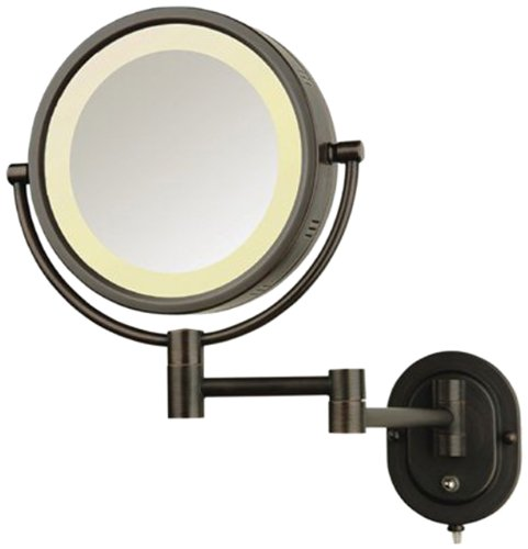 See All HLBZSA895D Halo Lighted 8-Inch Diameter Wall Mounted Make Up Mirror 5X Direct Wire Bronze