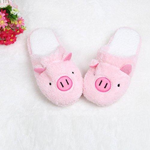 zjenee par LOVELY Pig Casa Suelo Suave Zapatillas Rosa