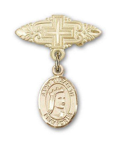 Icecarats Or Bijoux De Créateurs Rempli R. Elizabeth De La Broche De Badge Charme Hongrie Avec Croix 1 X 3/4
