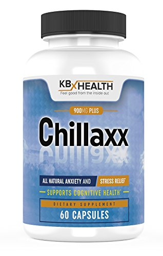 CHILLAXX Natural Stress Relief & Anti-Anxiety Relief Supplement, Busy Minds & Jitters, Regulate Nerves; Promotes Relaxation; Boosts Focus & Mood Ashwagandha, Rhodiola, Lemon Balm, B Vita
