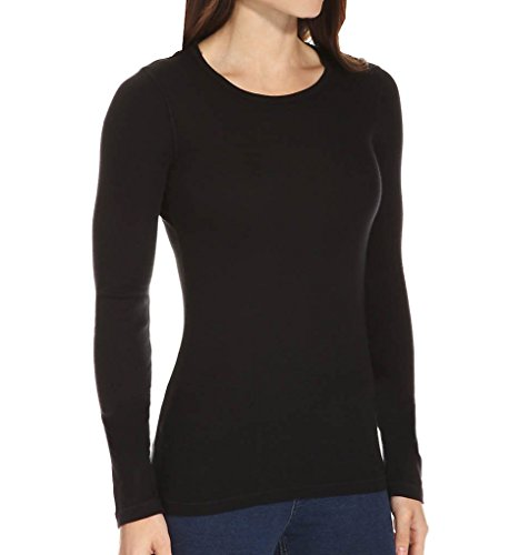 1x1 Rib Crew Tee - Splendid Women's 1x1 Crew Neck Tee, Black, X-Large