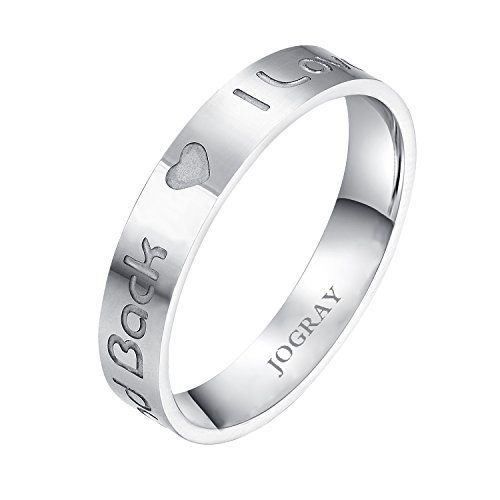 Jogray 4Mm Stainless Steel I Love You To The Moon And Back Ring Couple Rings Sizes Us10