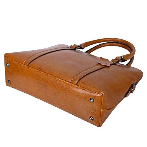 Porte bandouliere fourre cuir pour S femme a Sacs veritable Sacs documents a ZONE Brun en main tout Sac qZBzCw1