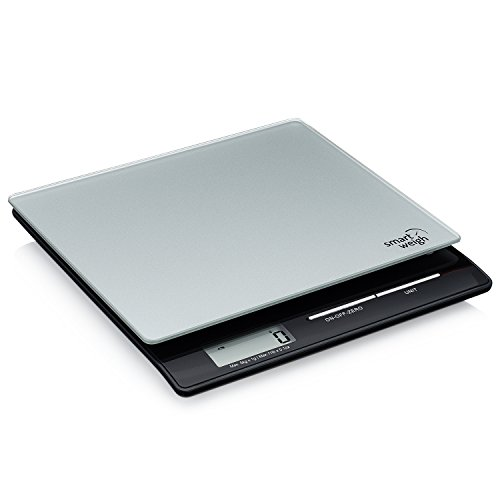 Smart Weigh Professional USPS Postal Scale with Tempered Glass Platform, Multiple Weighing Modes and Tare Function, Silver Shipping Scale, Platform Scale, 11lb/ 5kg
