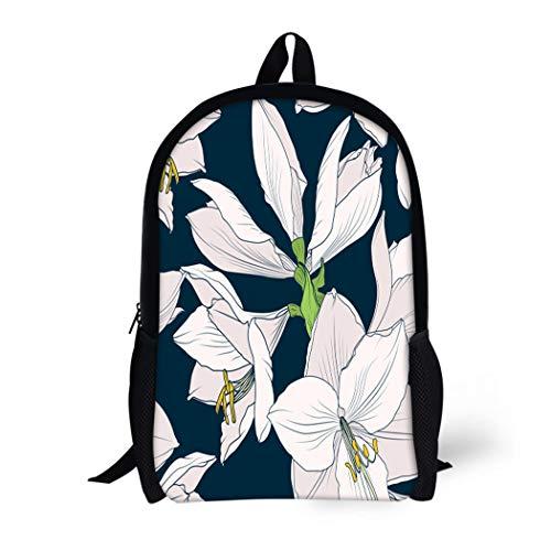 Pinbeam Backpack Travel Daypack Hippeastrum Amaryllis Lilly Blooming Flowers Beige Pink Waterproof School Bag